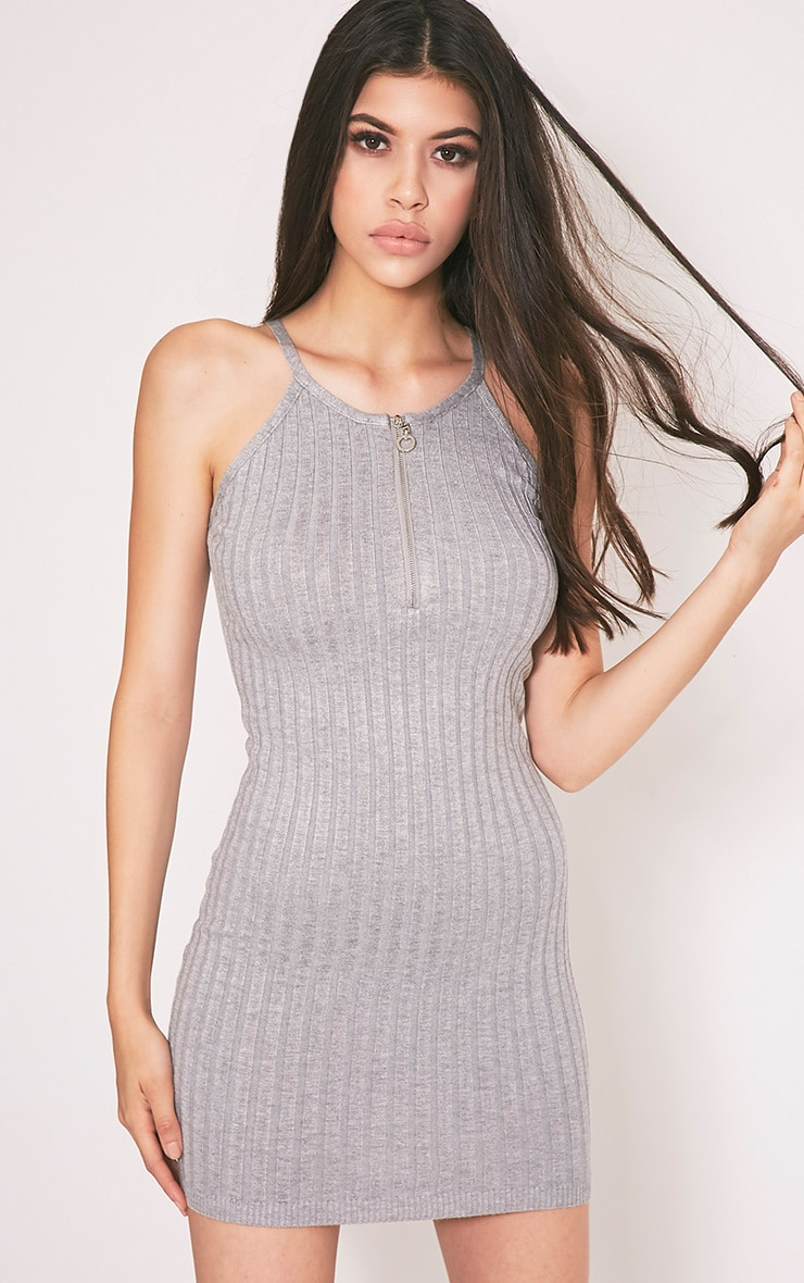 Kennedy Grey Zip Front Ribbed Knitted Mini Dress 1