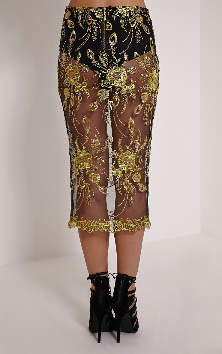 Meela Gold Floral Embroidered Mesh Midi Skirt 4