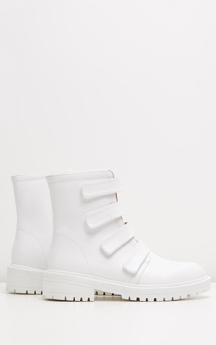 White Velcro Strap Biker Boot 3