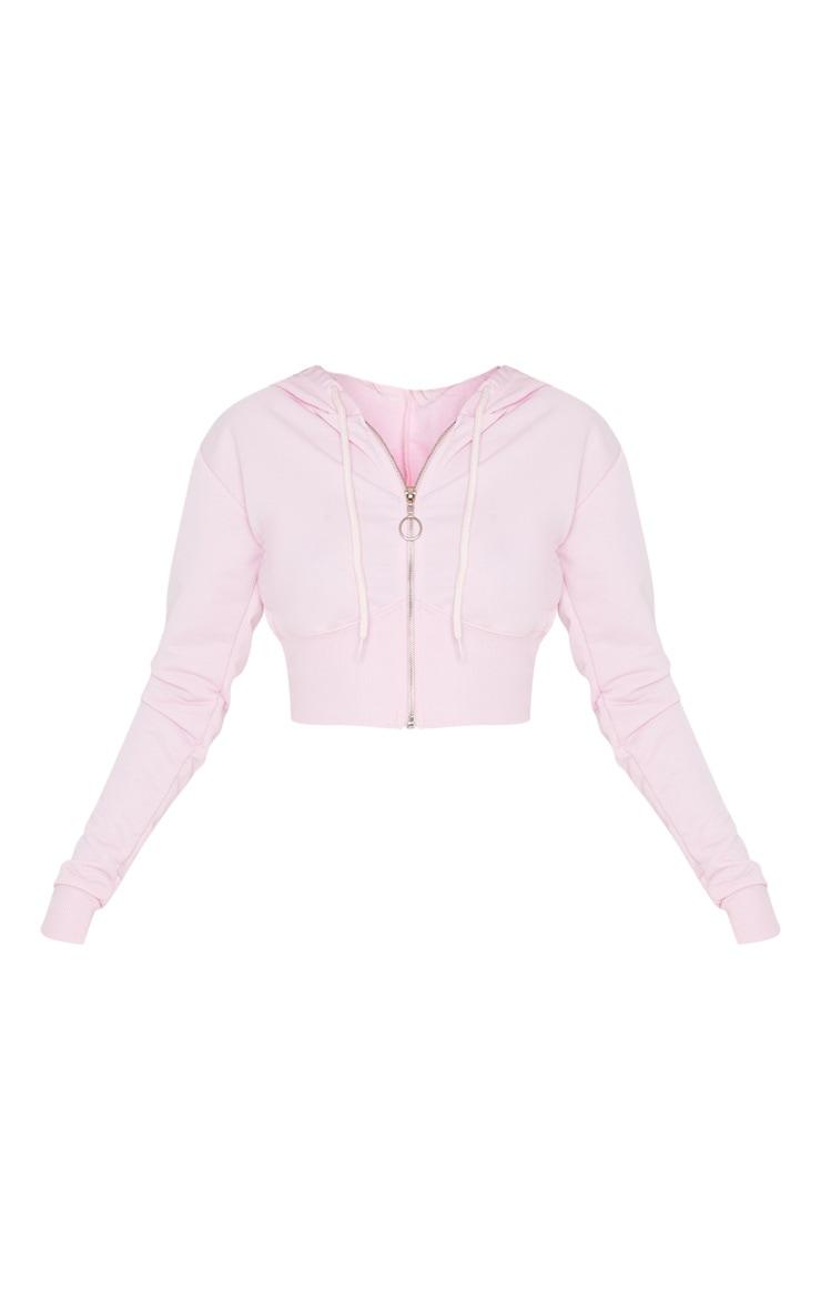 Light Pink Zip Up Bustier Hoodie 3