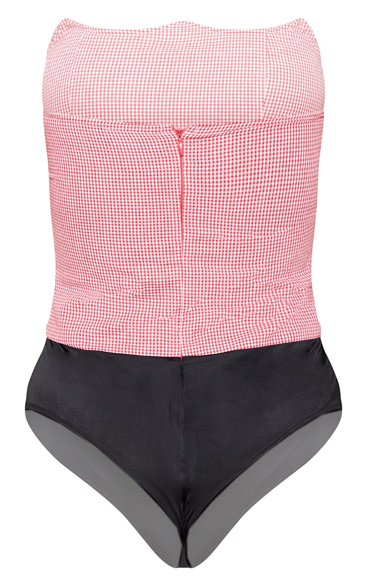 Red Gingham Wired Bandeau Bodysuit 4