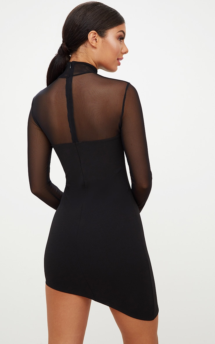 Black Long Sleeve Mesh Top Asymmetric Bodycon Dress 3