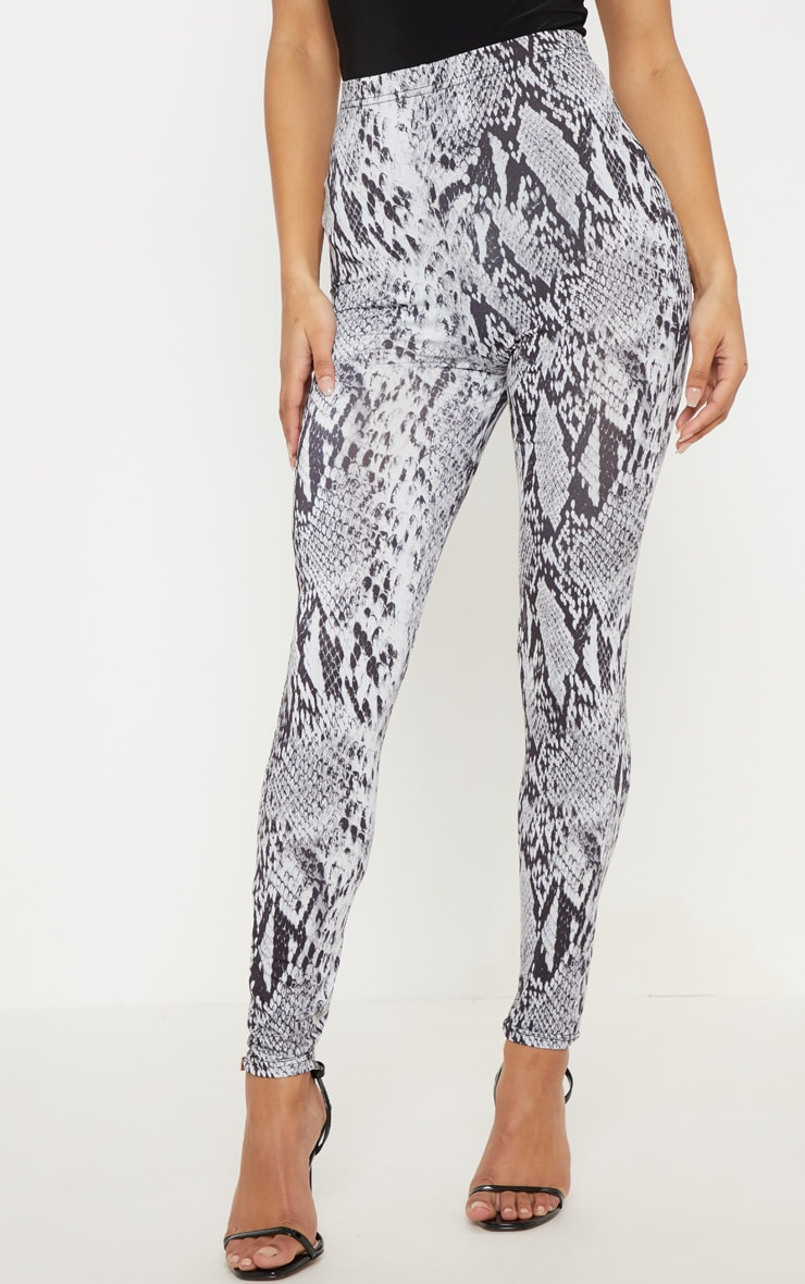 Grey Snake Print Soft Touch Legging 2