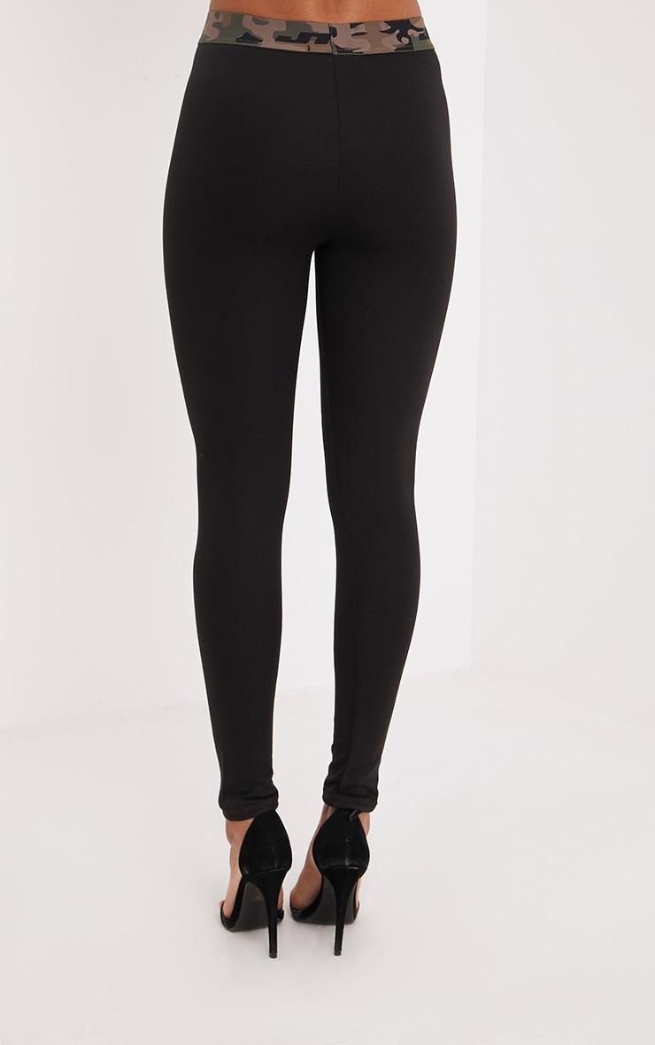 Alexina Black Camo Trim Leggings 4