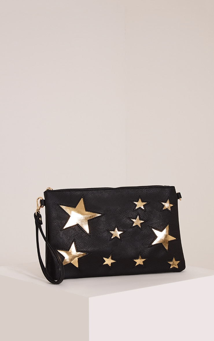 Gabrielle Black Star Detail Clutch Bag 1