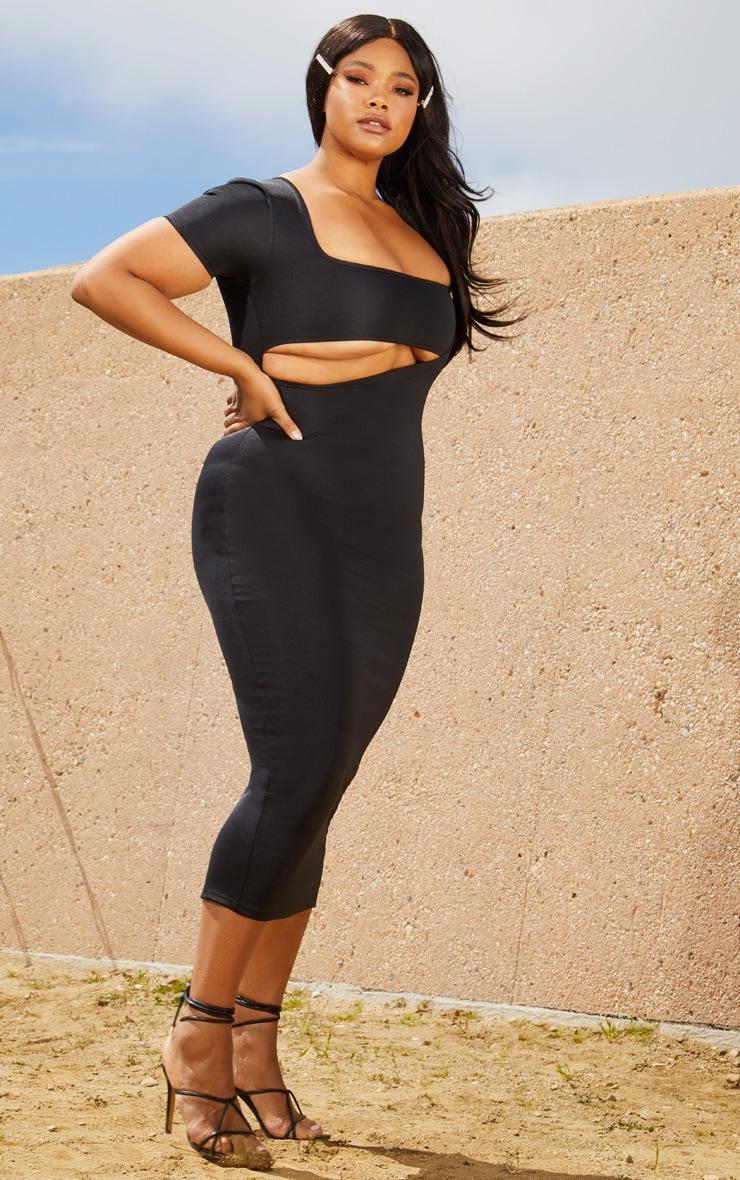 Plus Black Second Skin Square Neck Cut Out Midaxi Dress 1