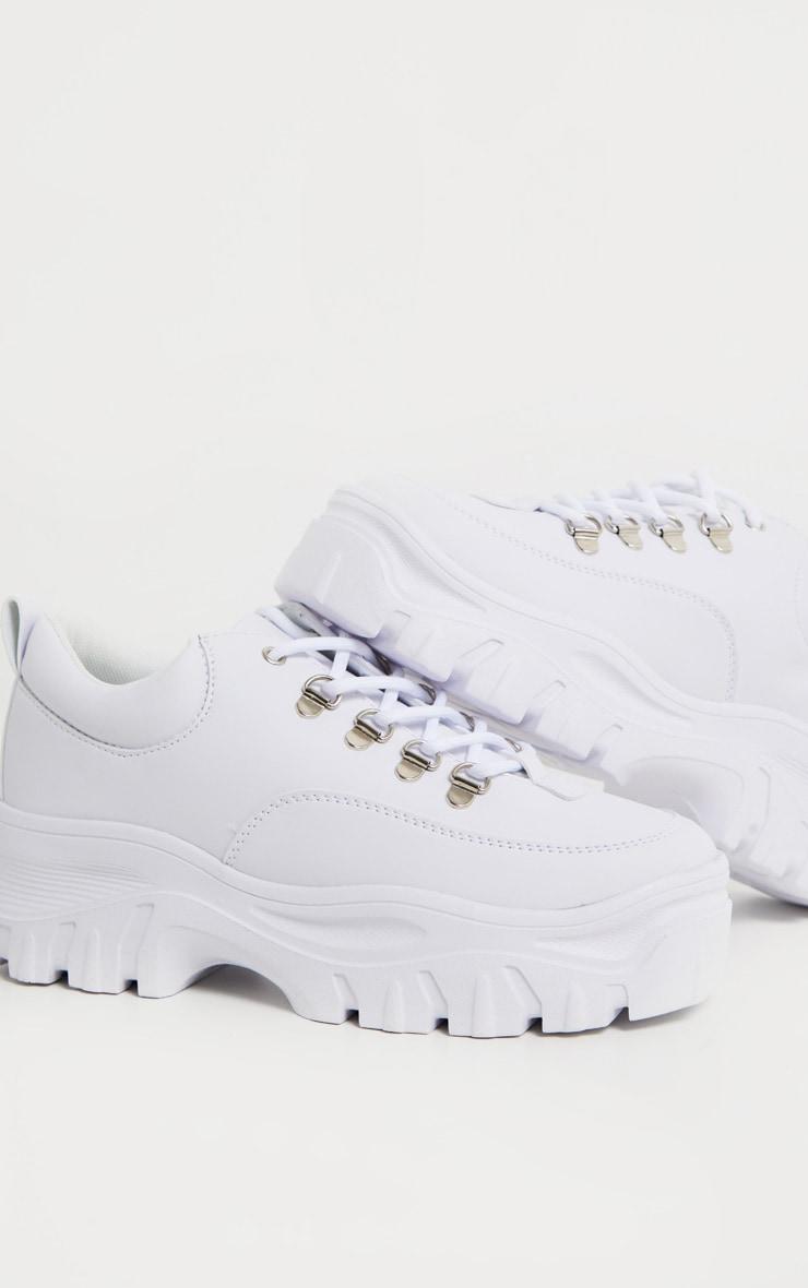 White Flatform Chunky Hiker Sneakers 4