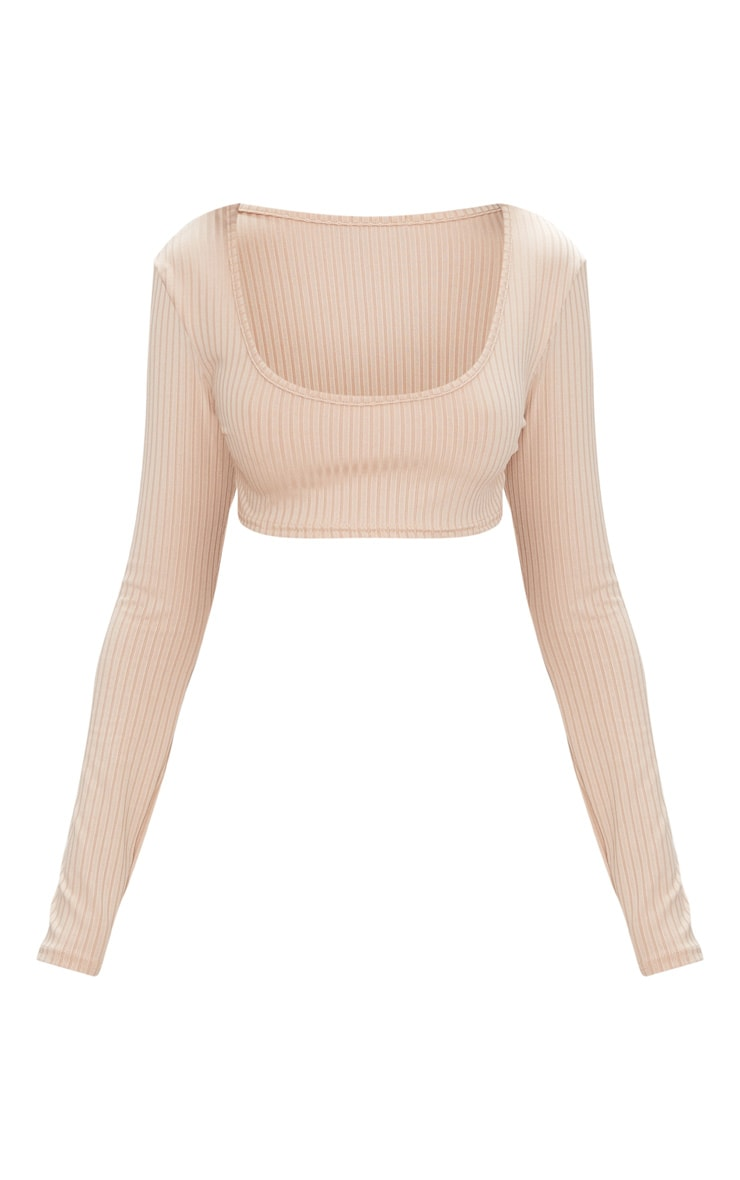 Basic Nude Rib Long Sleeve Crop Top  3