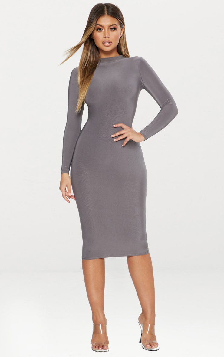 Charcoal Grey Second Skin Slinky High Neck Midaxi Dress 2