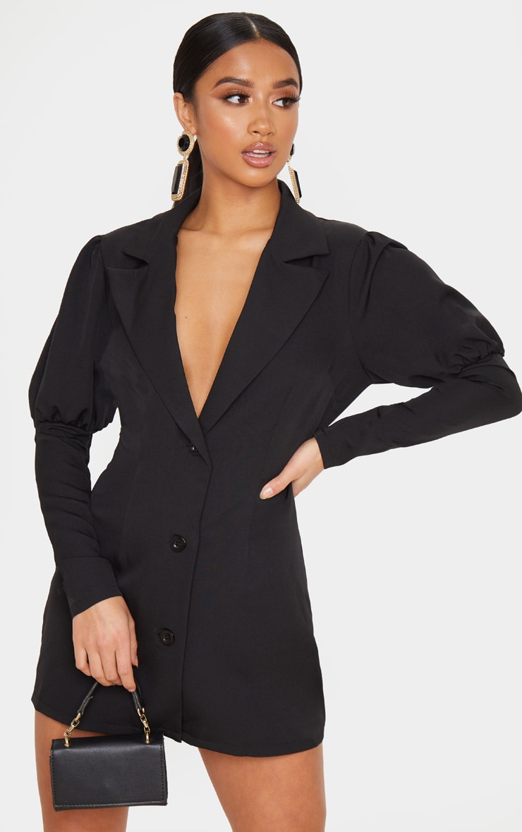 Petite Black Puff Sleeve Fitted Blazer Dress 1