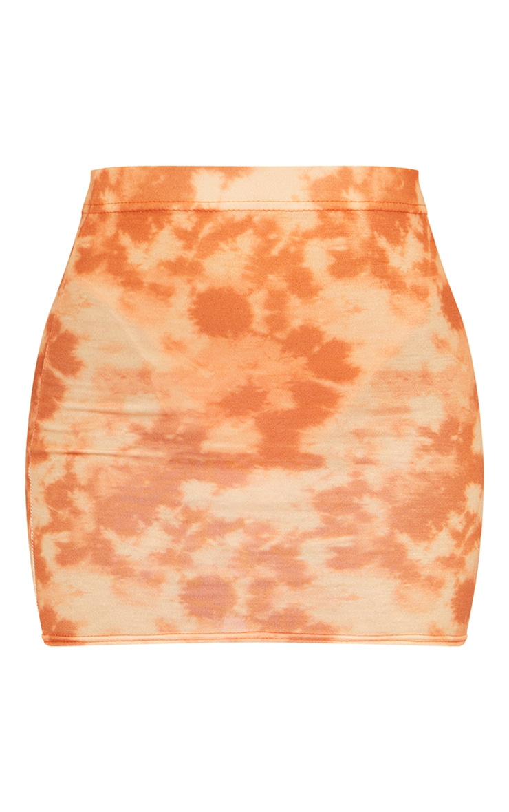 Orange Tie Dye Print Mini Skirt 6