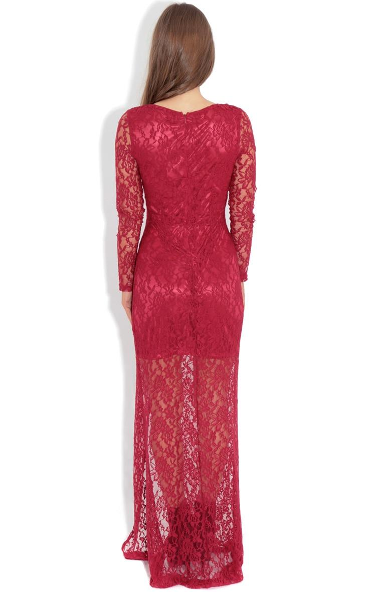 Ivana Red Lace Slit Dress 2