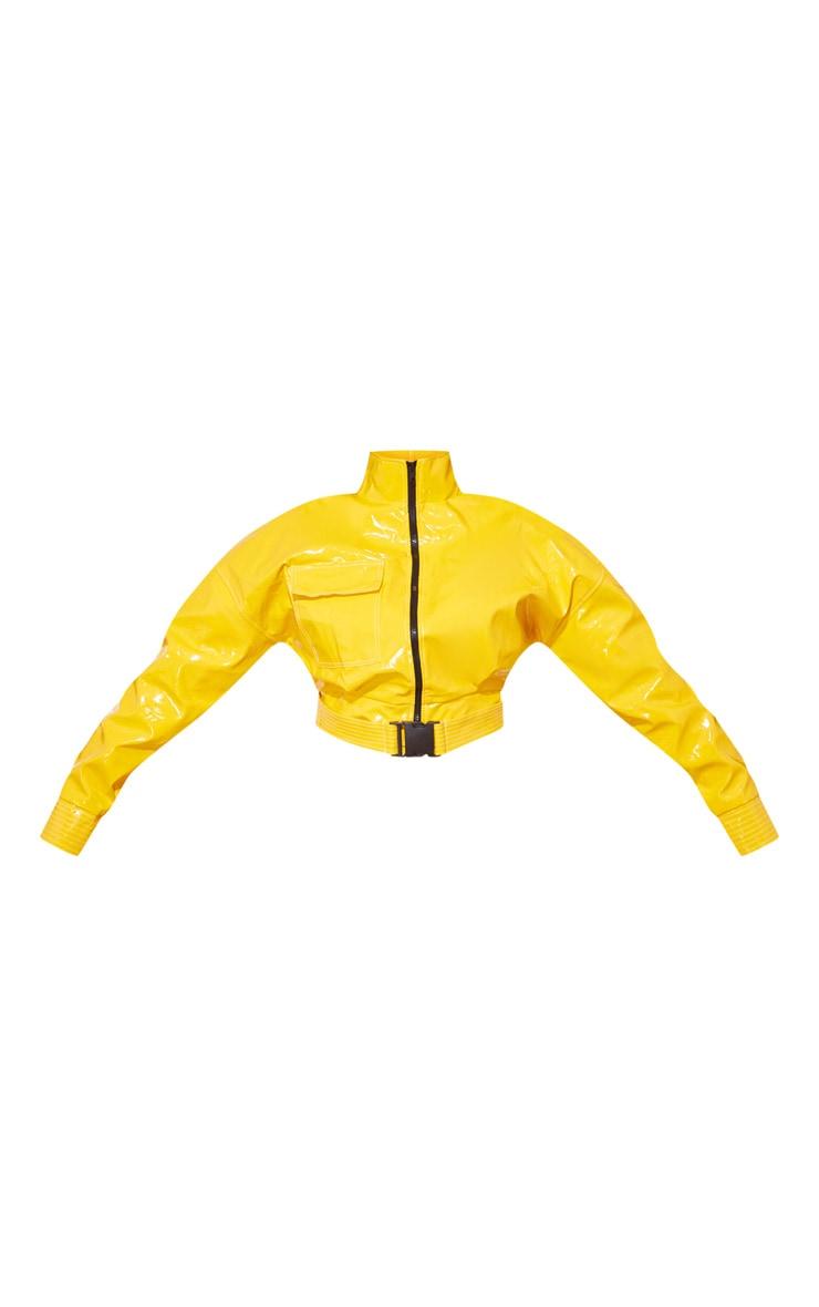 Plus Yellow Vinyl Buckle Detail Crop Jacket 3