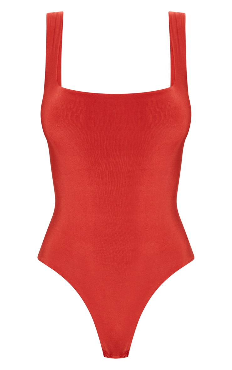 Rust Second Skin Square Neck Sleeveless Thong Bodysuit  3