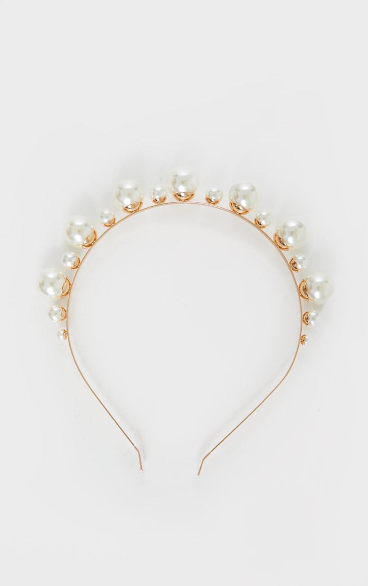 White Multi Size Pearl Headband 3