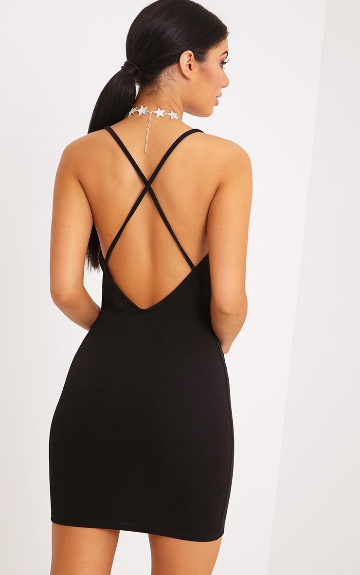 Demia Black Strappy Cross Back Bodycon Dress 1