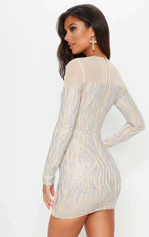 Nude Glitter Mesh Insert Bodycon Dress 2