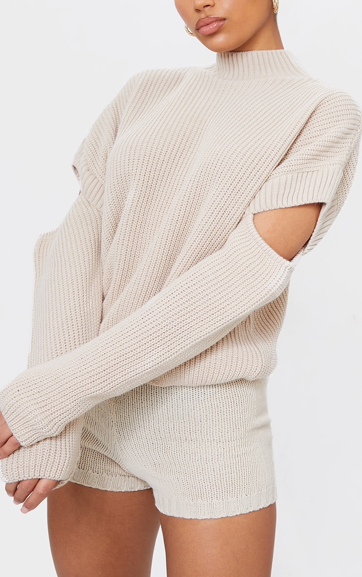Oatmeal Cut Out Sleeve Knitted Crew Neck Sweater 4