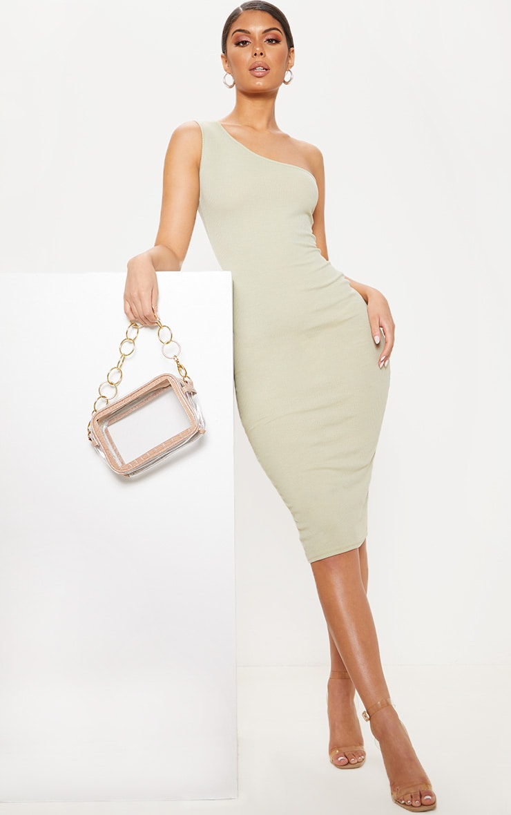 Sage Green Ribbed One Shoulder Midi Dress 1