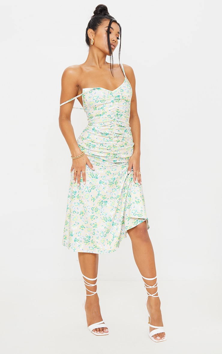 Lilac Floral Print Strappy Ruched Flare Hem Midi Dress 1