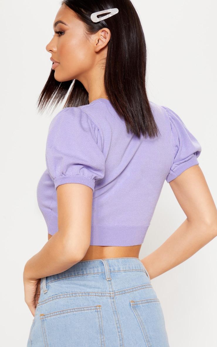 Crop top en maille tricot lilas à manches ballon 2