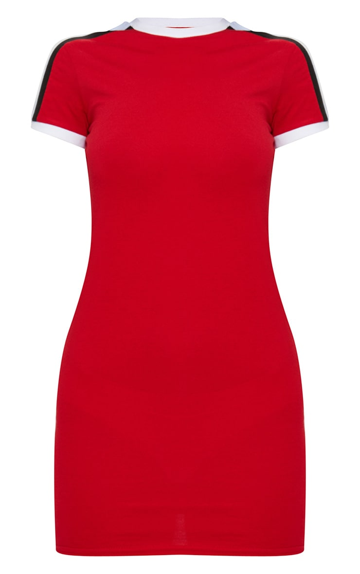 Red Triple Stripe Shoulder T Shirt Dress 3