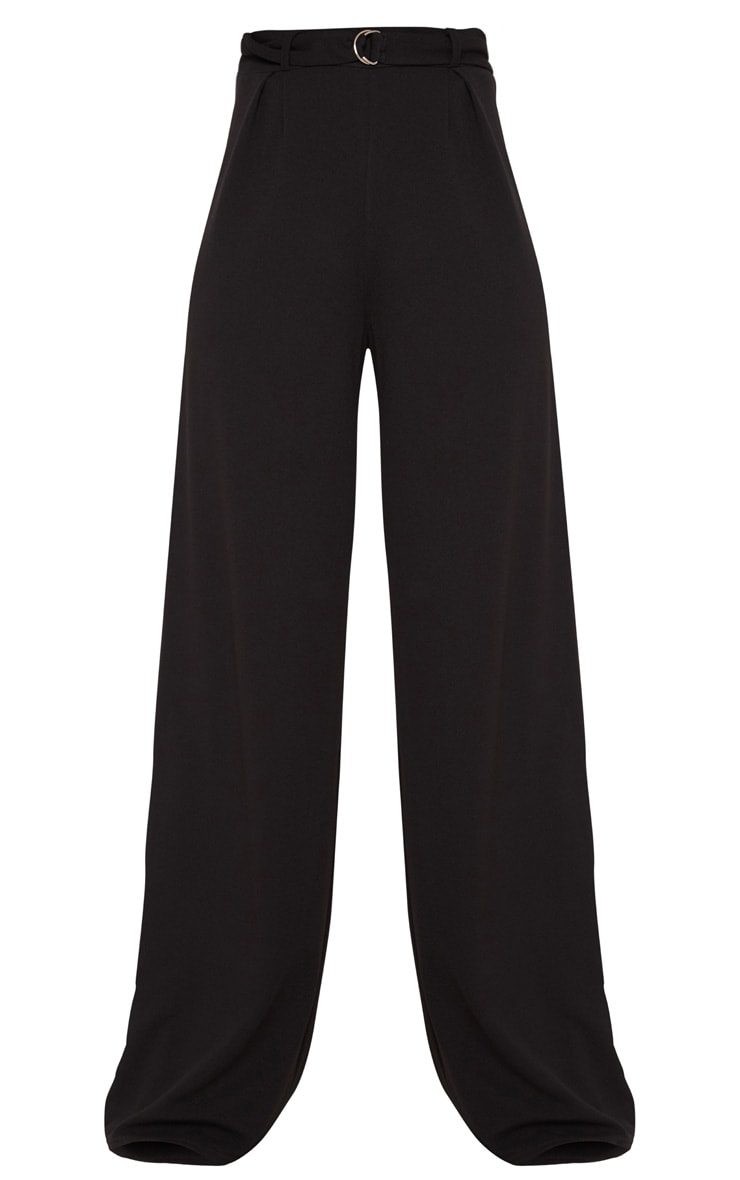 Tall Black Ring Detail Pleated Wide Leg Pants 3