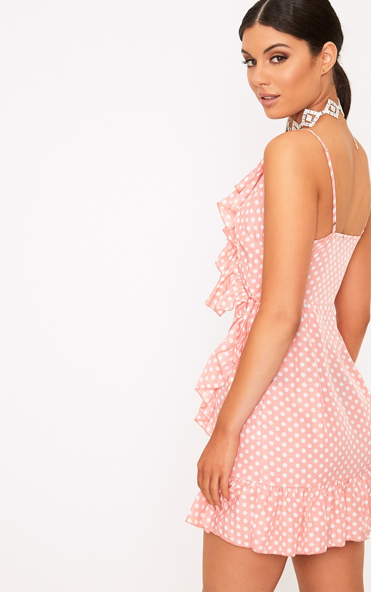 Pink Polkadot Wrap Over Shift Dress 2