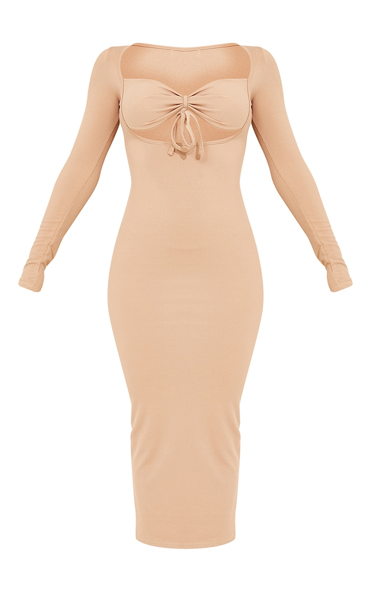 Stone Tie Bust Detail Long Sleeve Ribbed Midaxi Dress 5