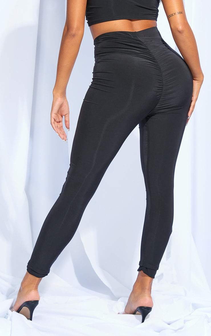 Shape Black Slinky Ruched Bum Leggings 3