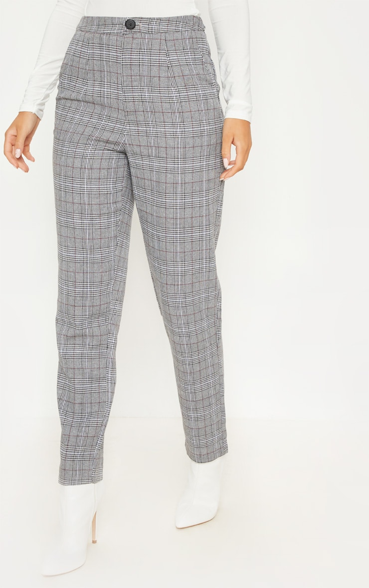 Grey Check Slim Leg Pants 2