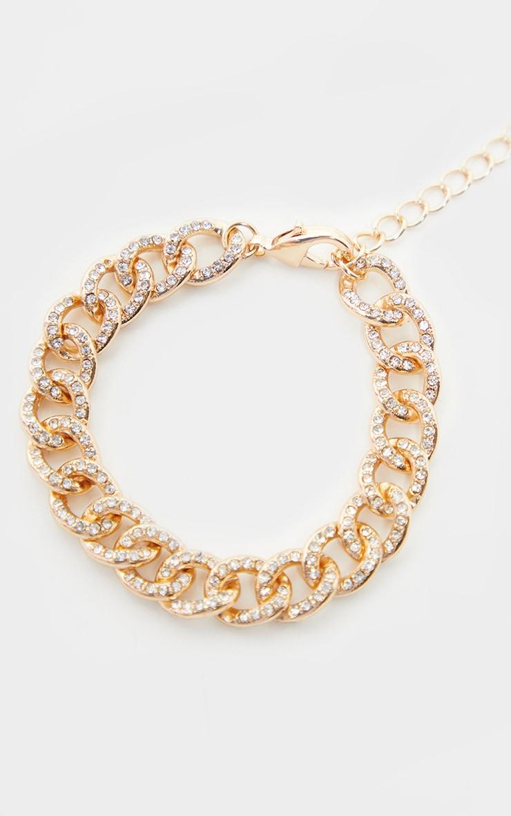 Gold Diamante Link Bracelet 1