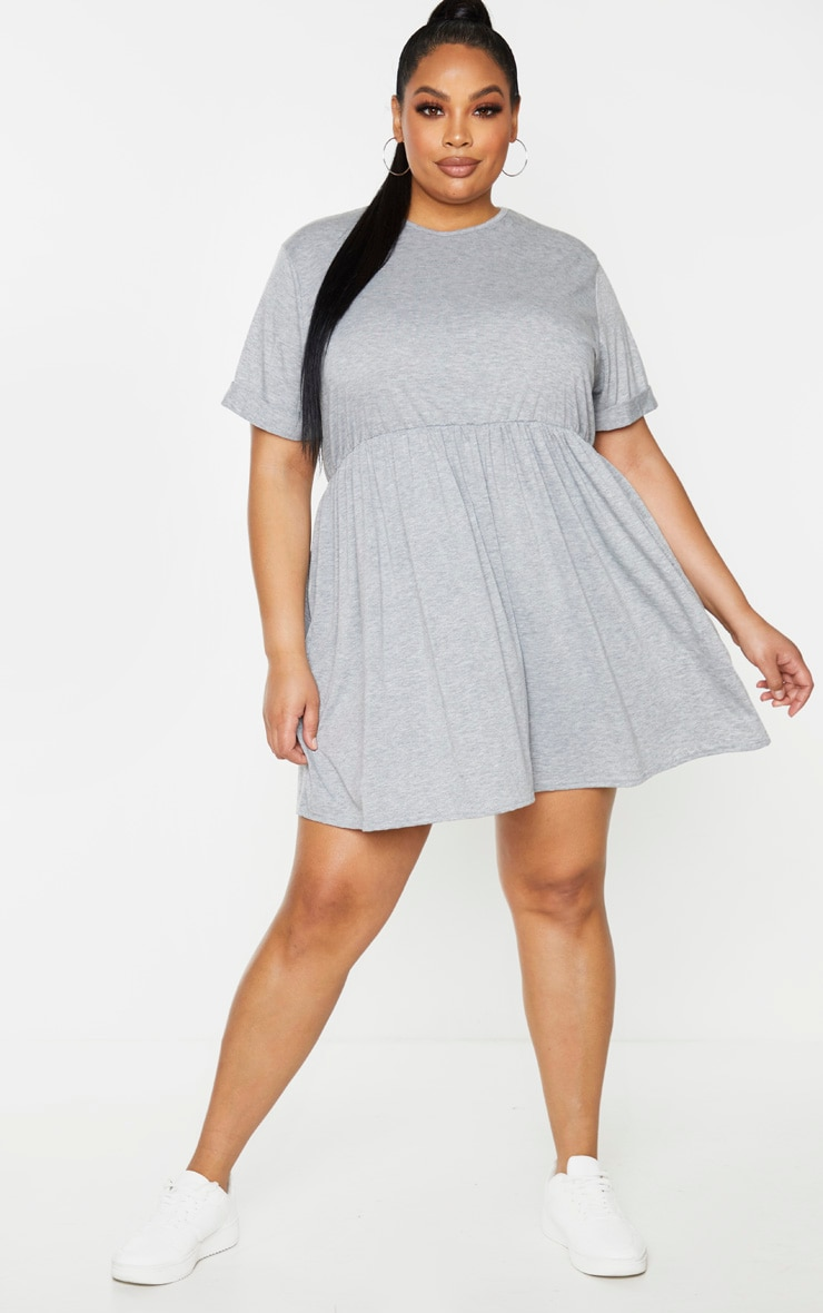 Plus Grey Marl Jersey Oversized Smock Dress 3