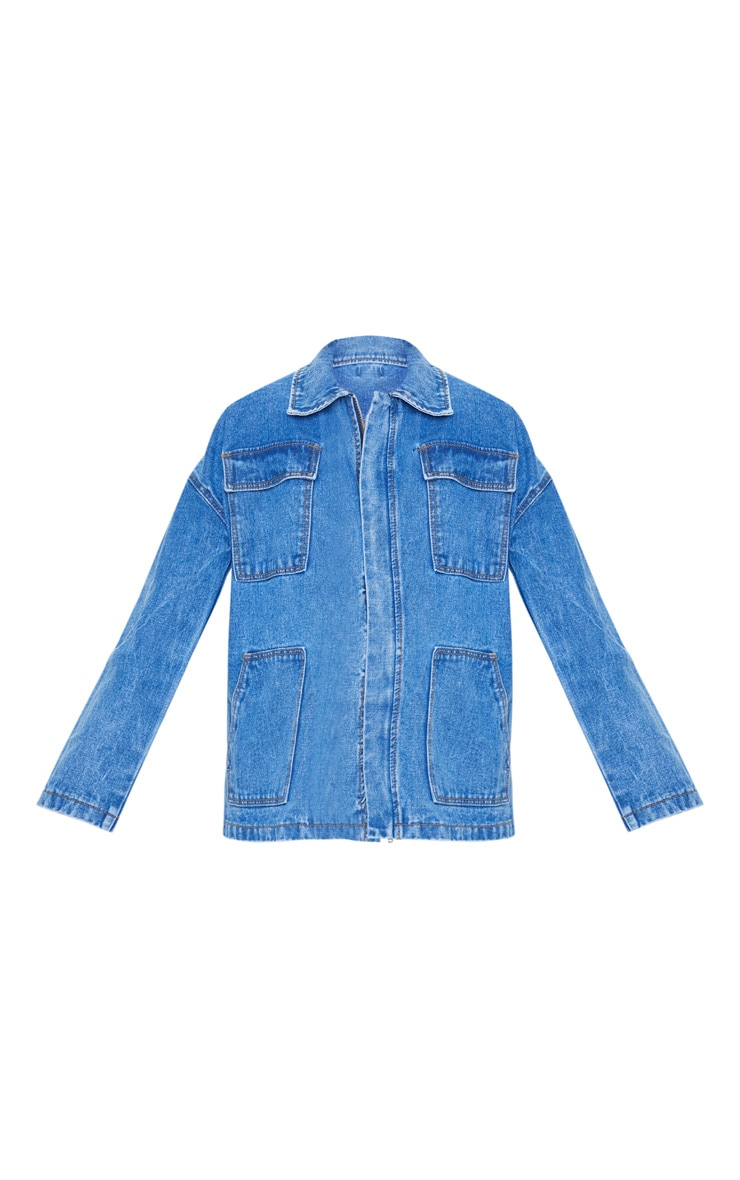 Mid Wash Oversized Boyfriend Trucker Denim Jacket 3