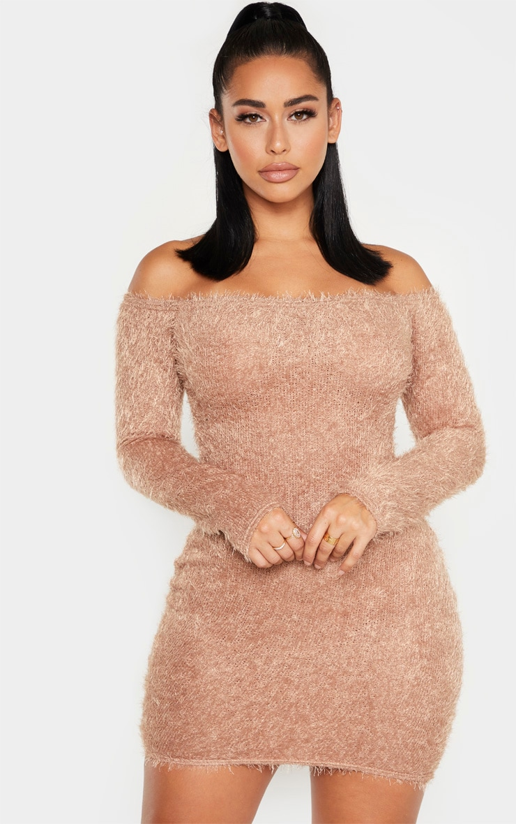 Shape Mocha Eyelash Knit Bodycon Dress 1