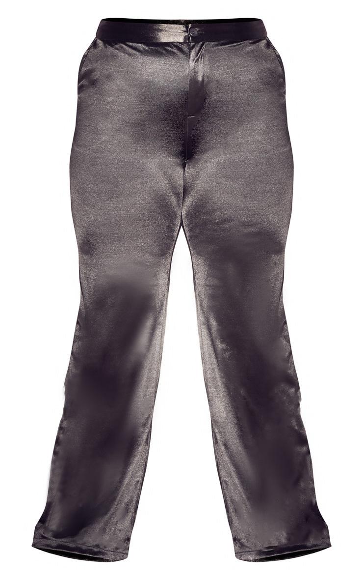 Plus Charcoal Satin Wide Leg Pants 3