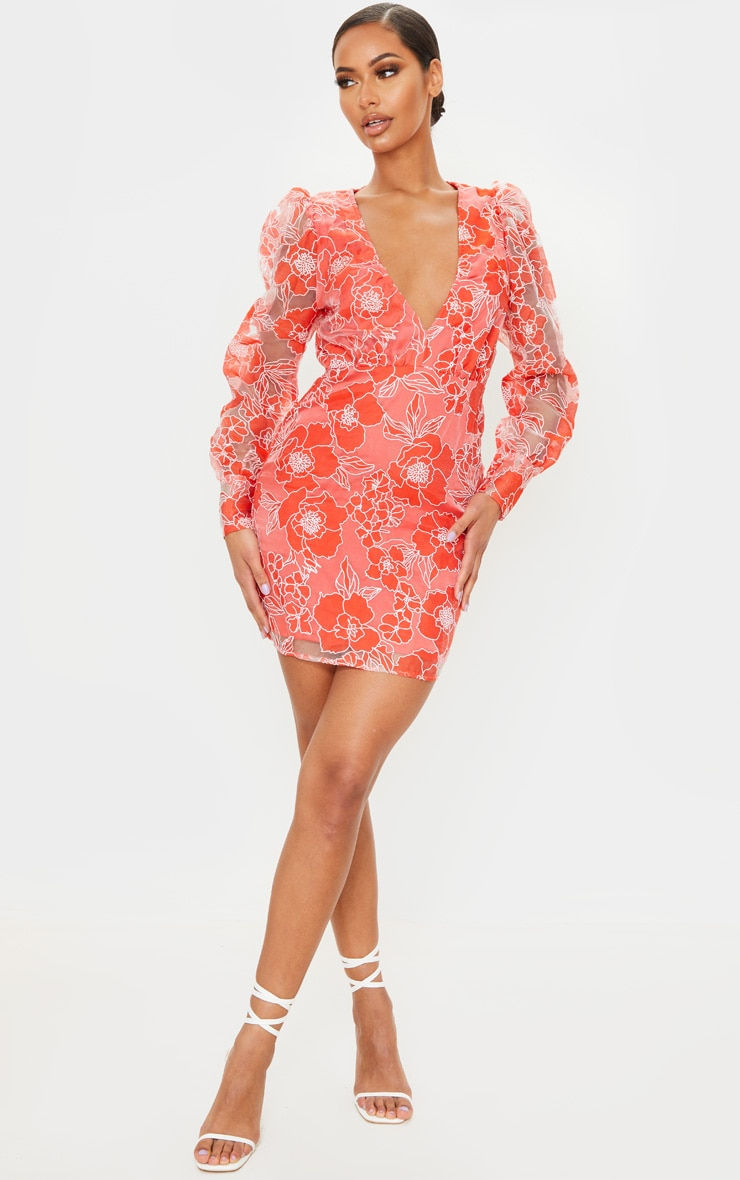 Red Floral Lace Puff Sleeve Bodycon Dress 3