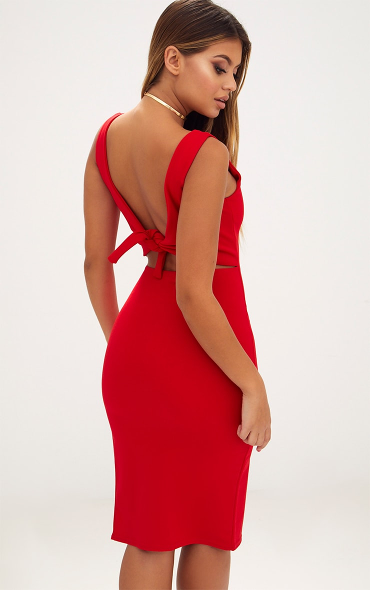 Red Tie Back Scoop Neck Midi Dress 2