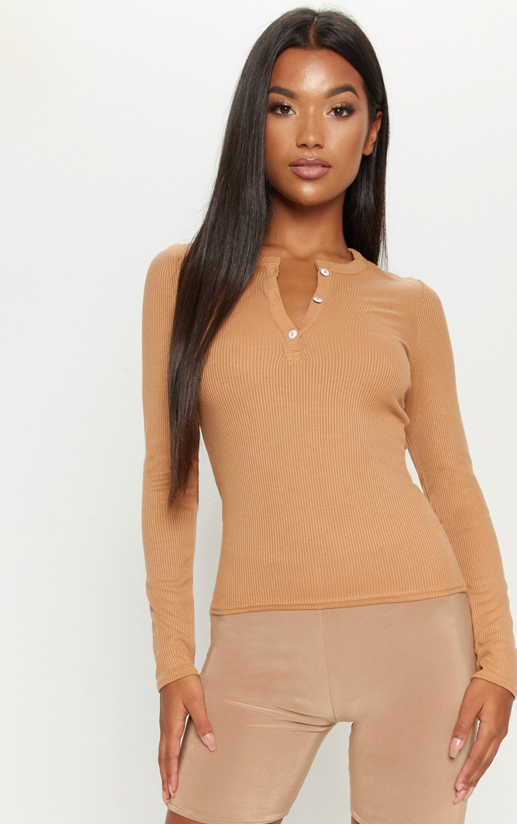 Camel Long Sleeve Rib Button Top