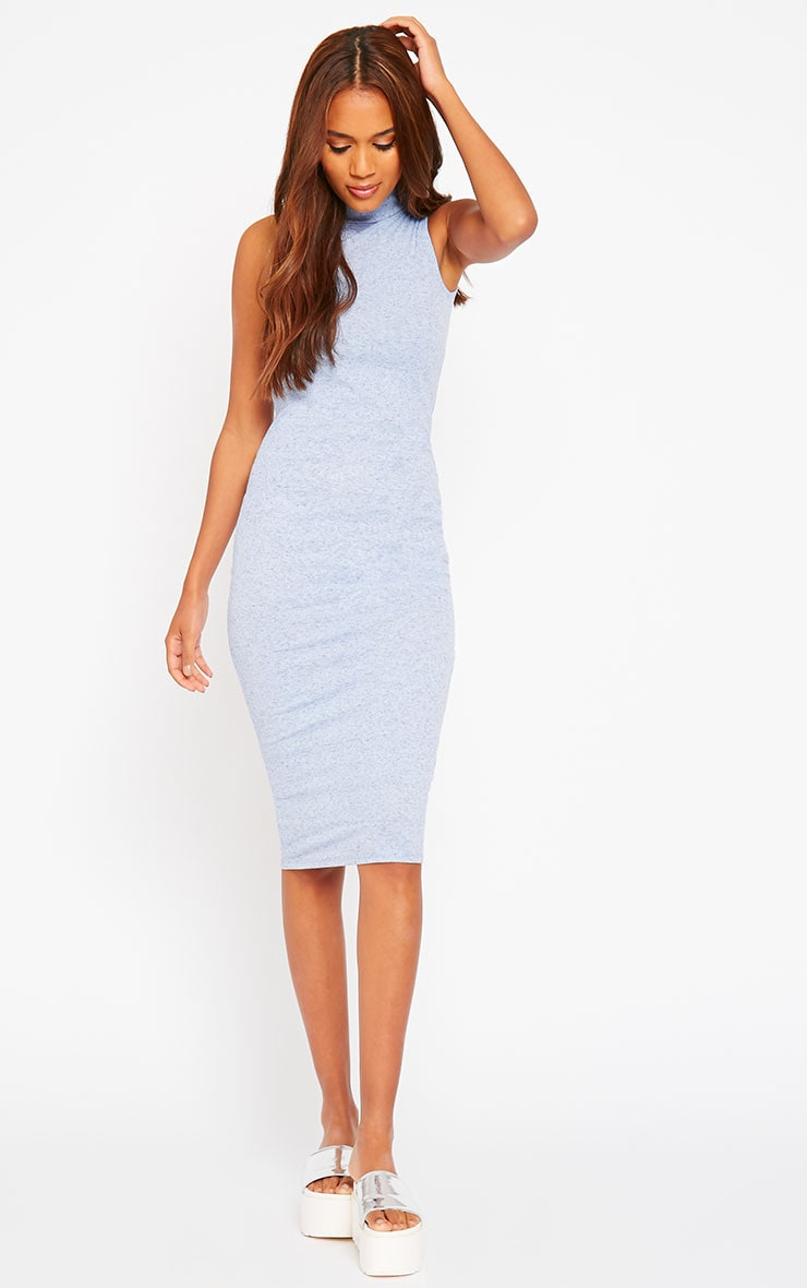 Basic Blue High Neck Dress 1