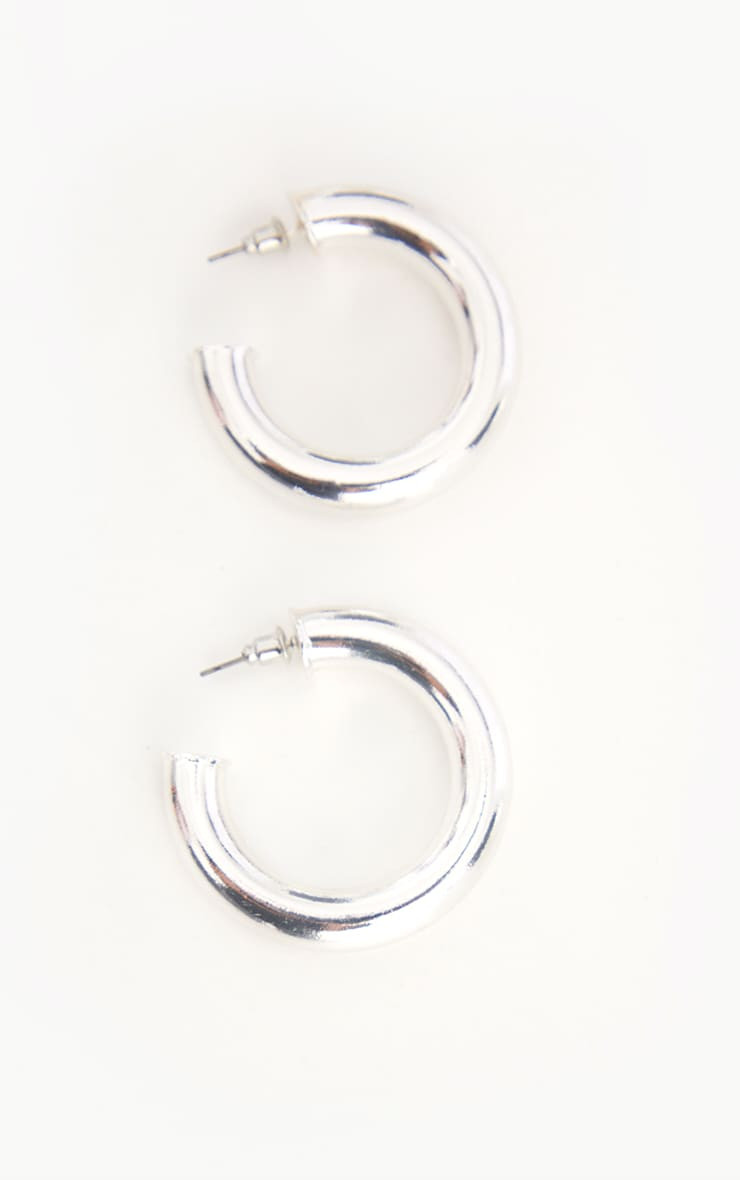 Silver Chunky Tubular Earrings 3