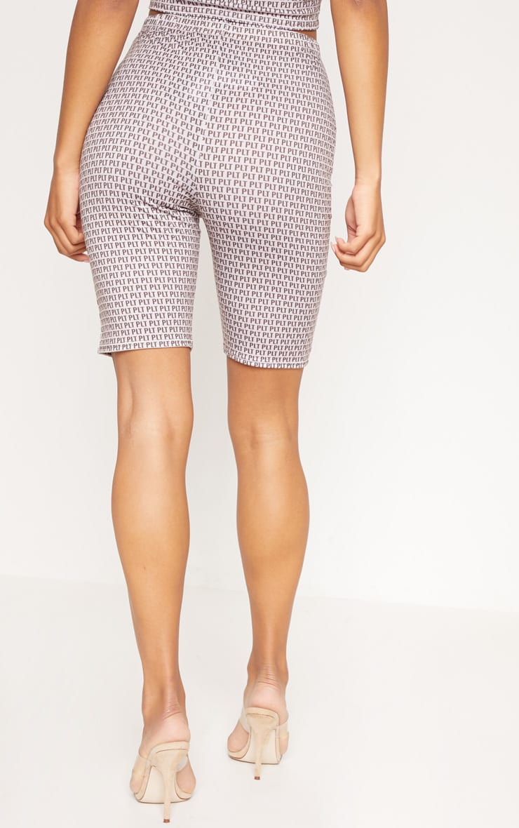 PRETTYLITTLETHING Taupe Printed Jersey Cycling Shorts 4