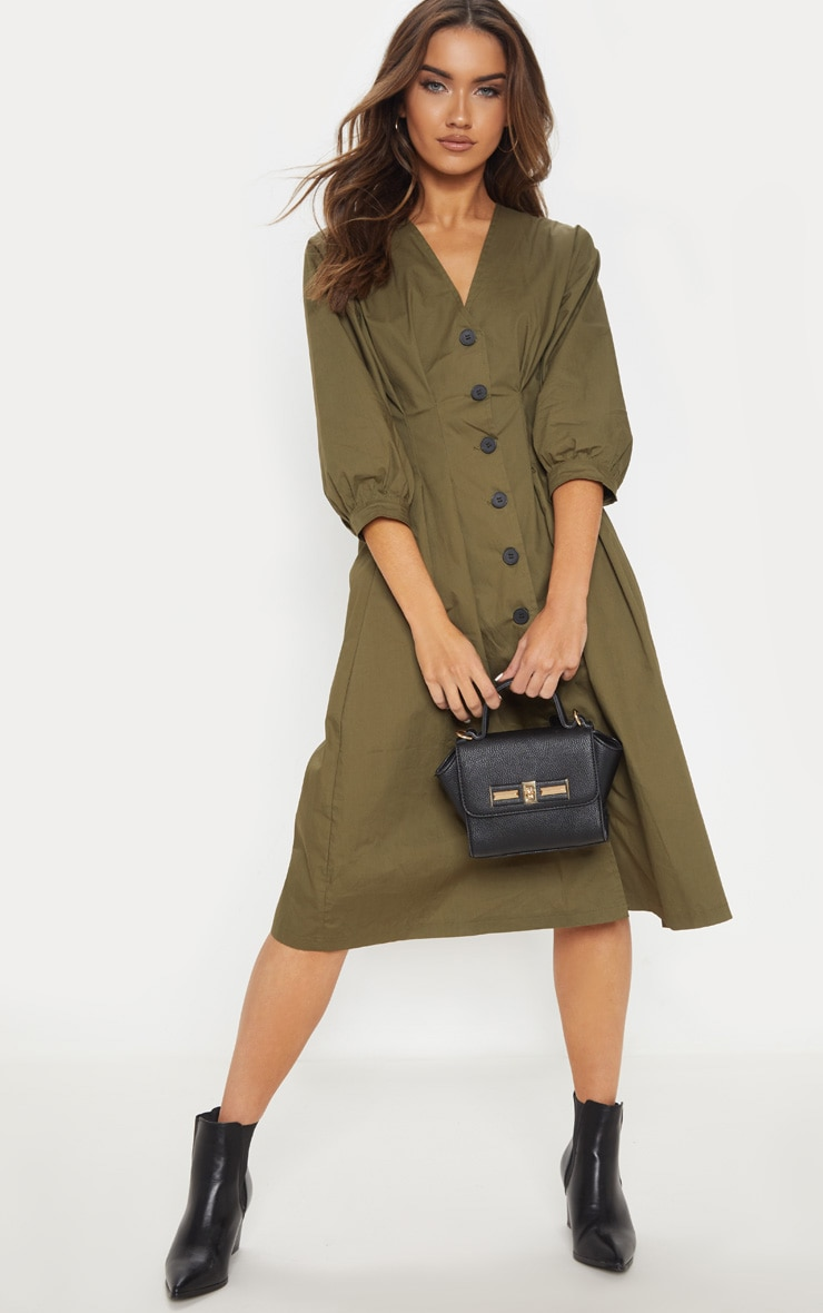 Khaki Button Front Midi Pleated Waist Dress 1