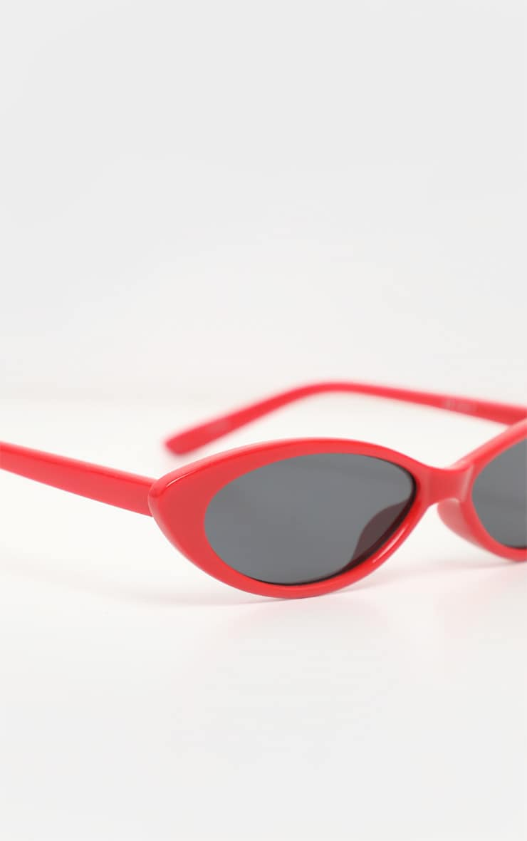 Red Super Slim Cat Eye Sunglasses 4