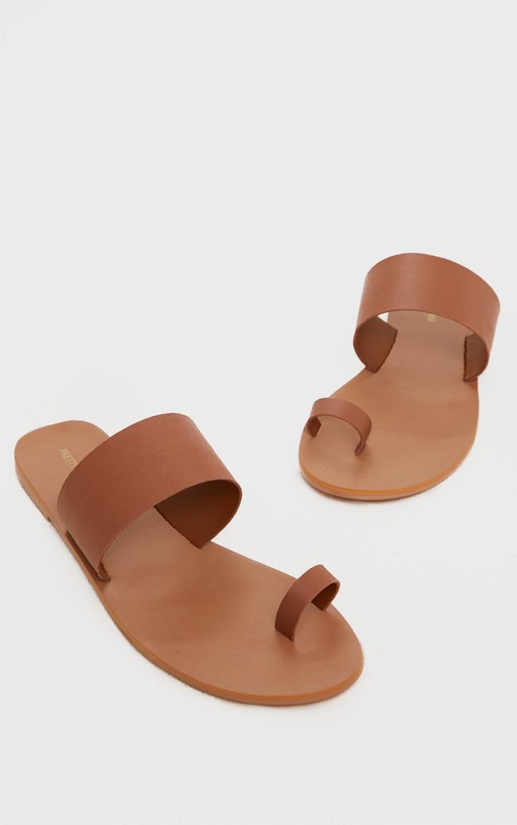 Tan Toe Loop Single Leather Strap Mule Sandal 3