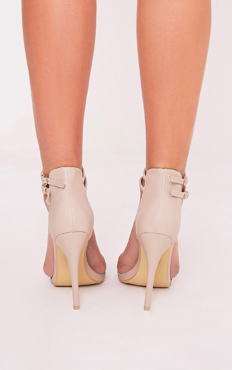 Karrie Nude Double Ankle Strap Heels 4