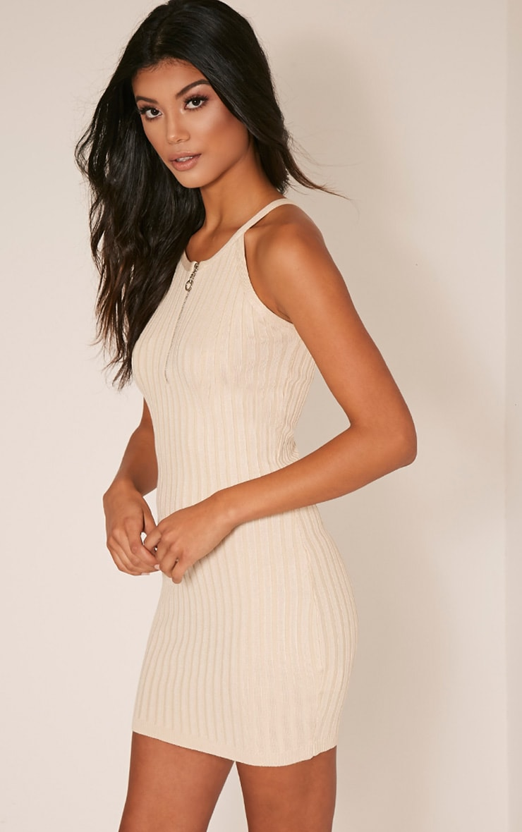 Kennedy Stone Zip Front Ribbed Knitted Mini Dress 4
