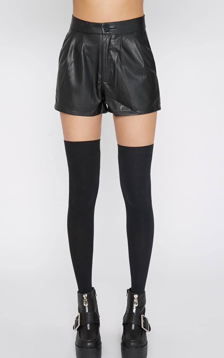 Misha Black Leather Short 7