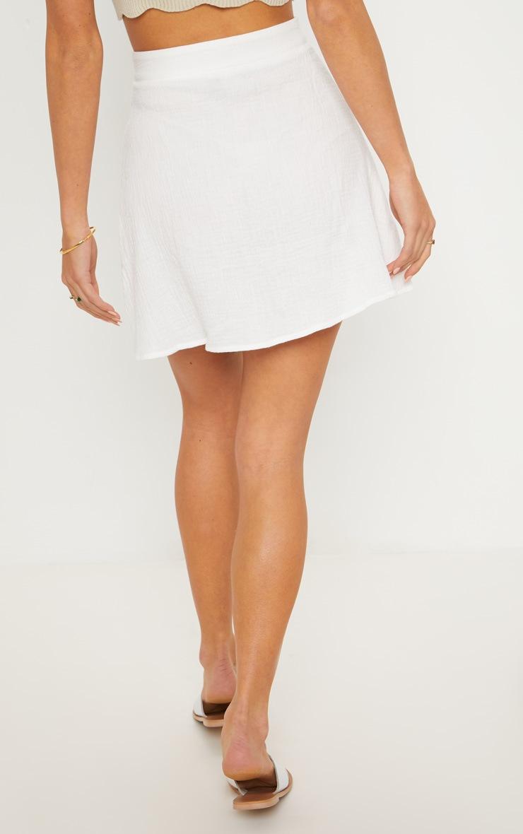 Cream Button Front Linen Feel Mini Skirt 4