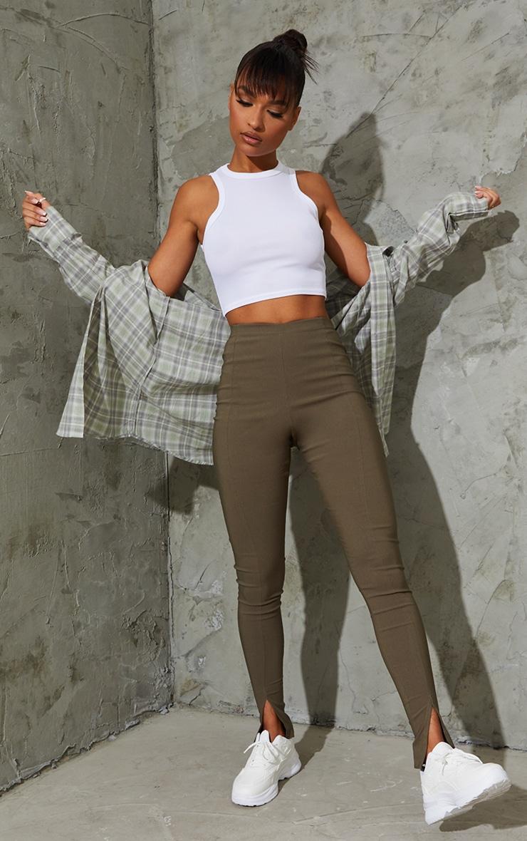 Khaki Stretch Split Hem Skinny Trousers 1